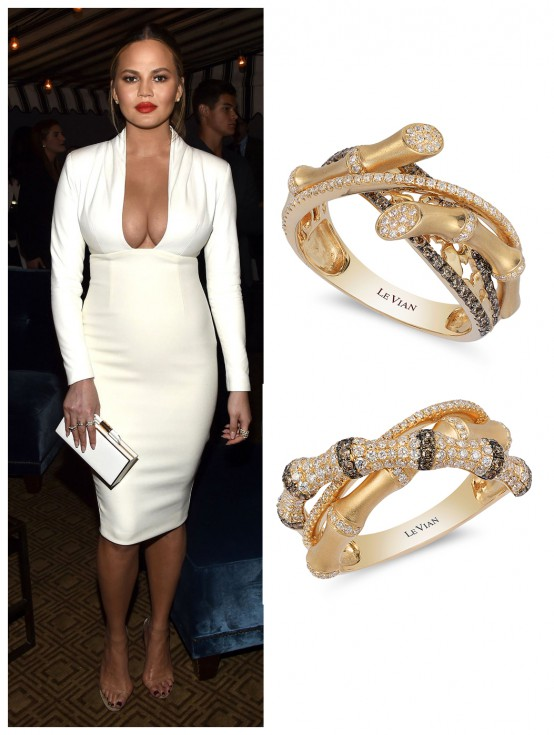 Chrissy Teigen Wearing Le Vian Rings to GQ Magazine Party in West Hollywood