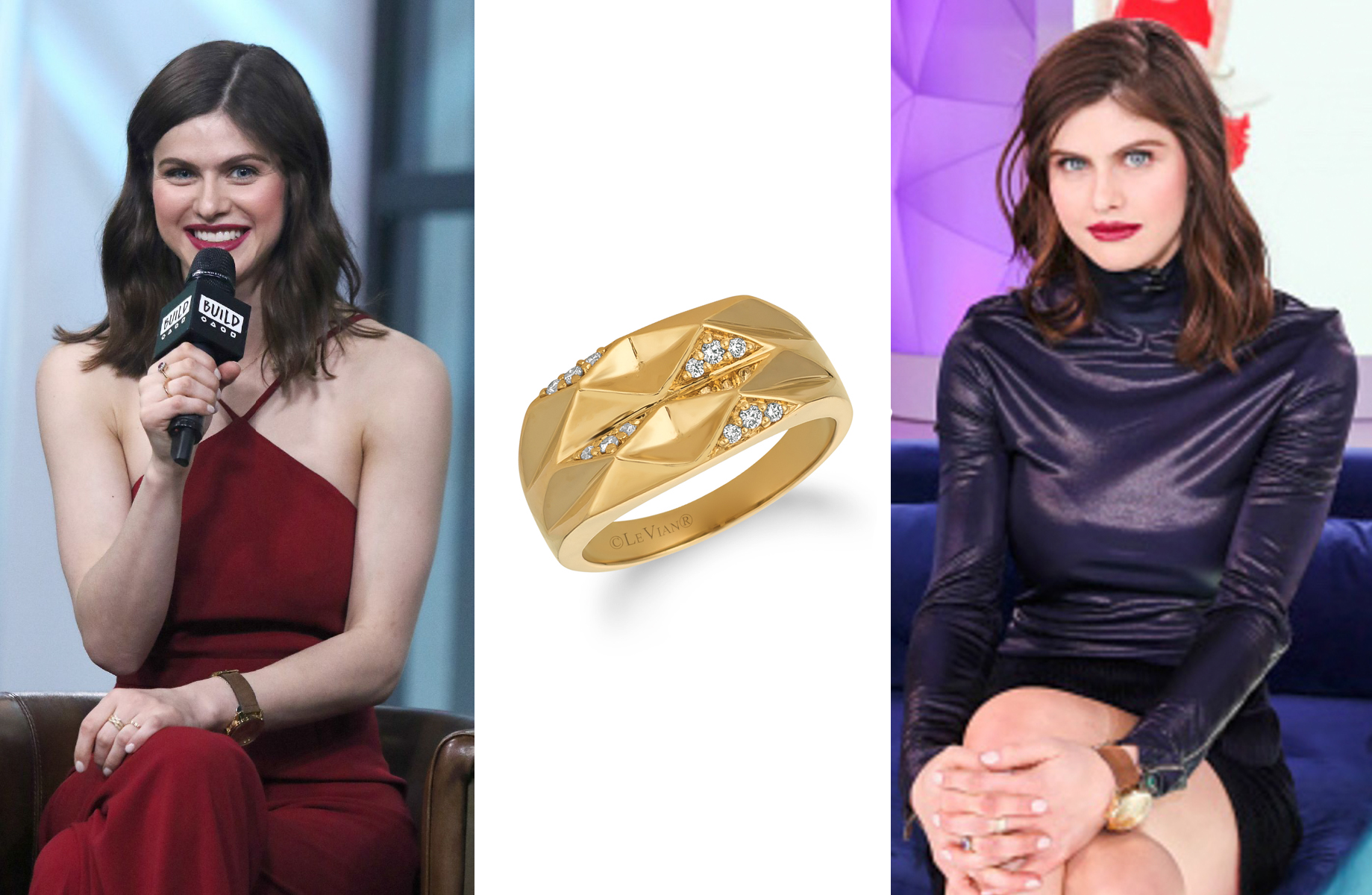 Alexandra Daddario Wearing a Le Vian Ring in NYC