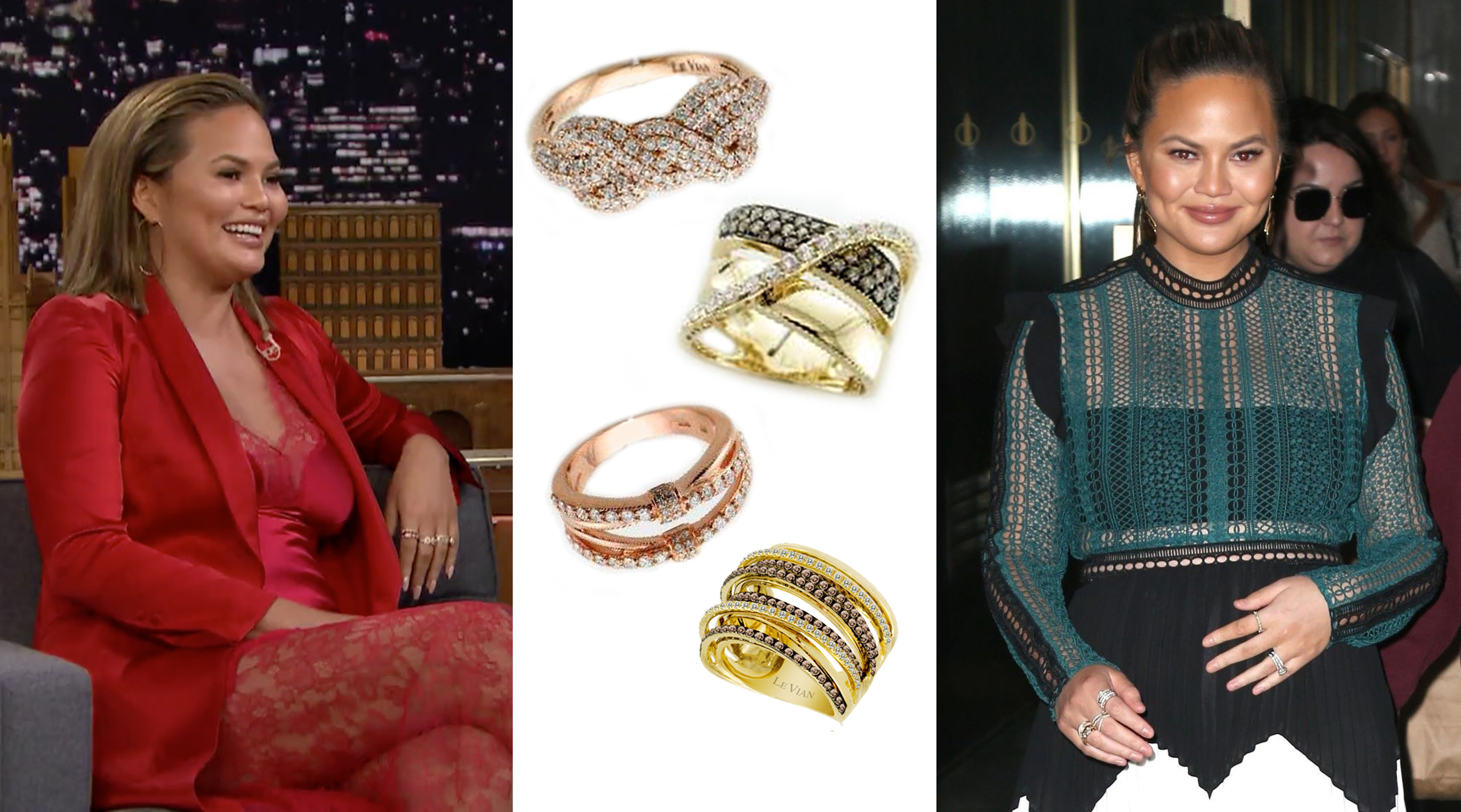 Chrissy Teigen Wears Le Vian Rings for Two NYC Appearances in January