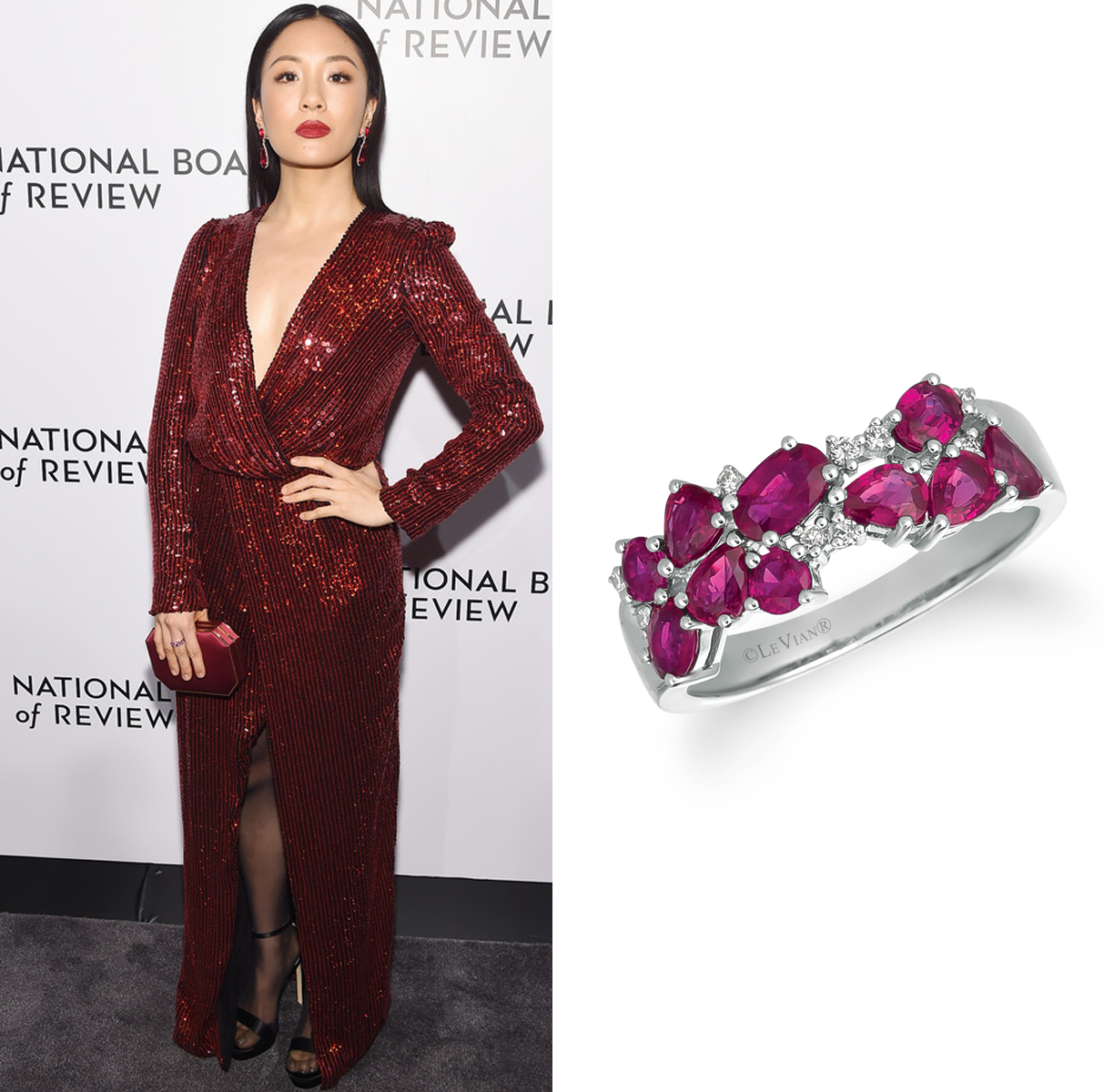 Constance Wu Wearing Le Vian Ring to National Board of Review Awards Gala