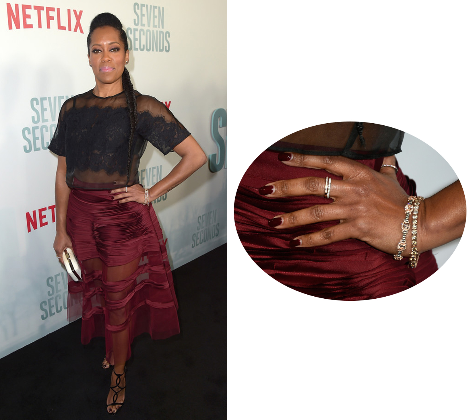 "Regina King Wearing Le Vian Bracelets and Rings at the ""Seven Seconds"" Premiere"
