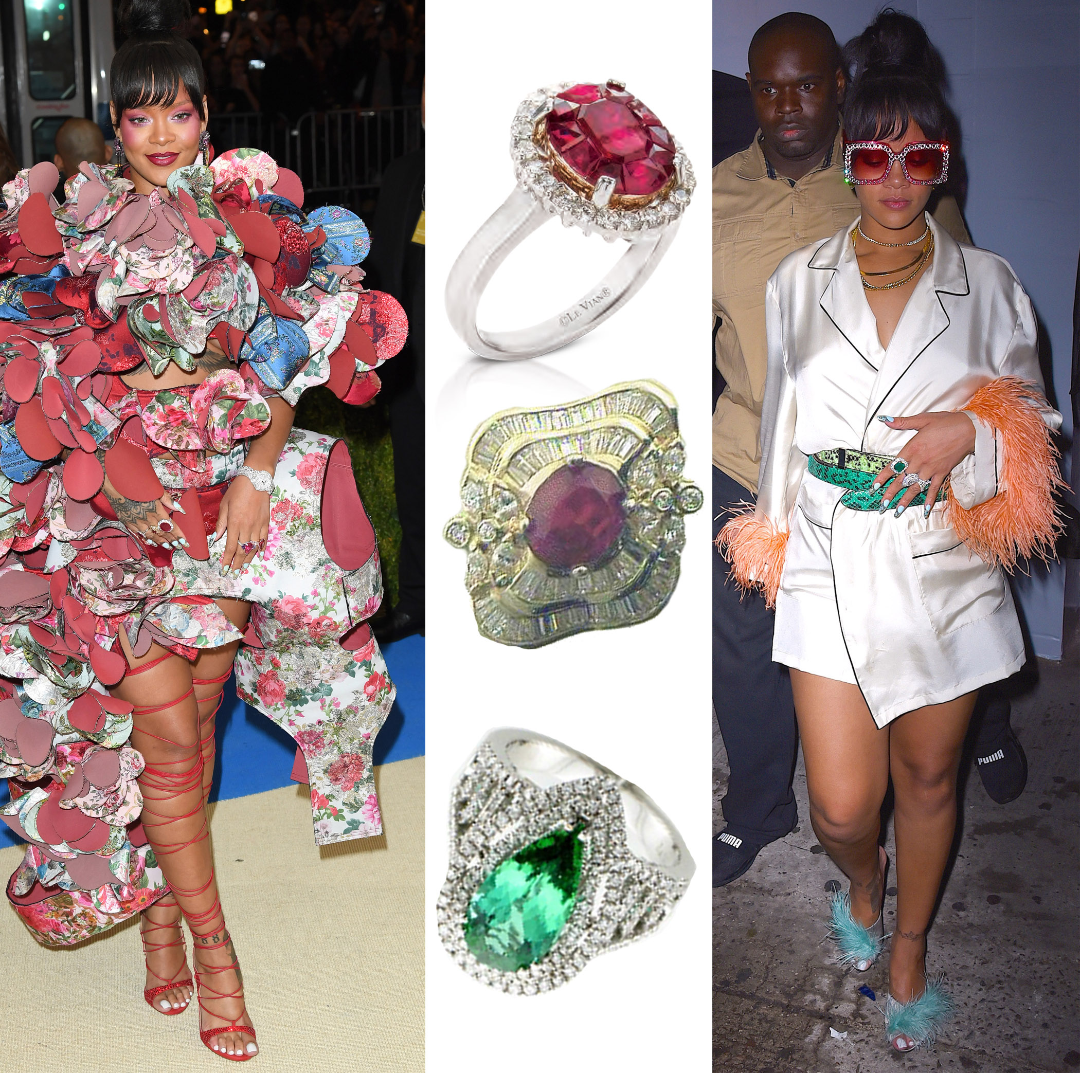 Rihanna Wears Le Vian® Rings to Met Gala and After Party in New York City